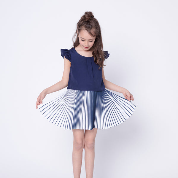 White and blue pleated dress