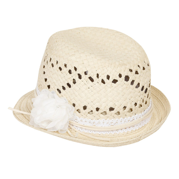 Straw hat with flower