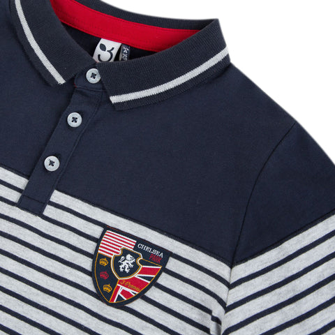 *NEW* Heather grey long sleeve striped polo shirt