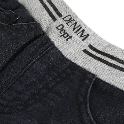 Dark grey regular fleece denim pants