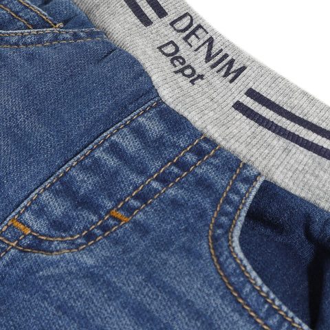 Navy blue regular fleece denim pants