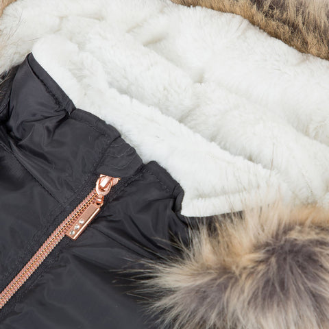 Dark grey faux fur lining hooded parka