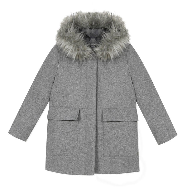 Grey wool hooded coat