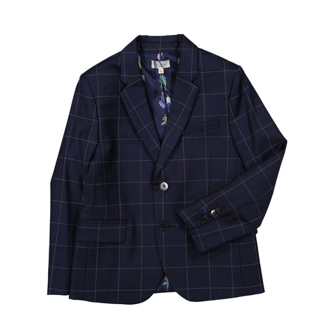 Navy blue checked suit set