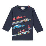 Navy blue T-shirt with car visuals