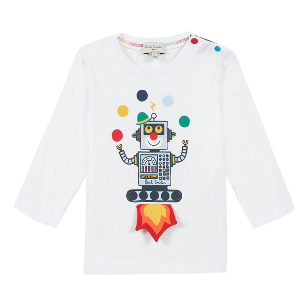 *NEW*  White T-shirt with juggling robot
