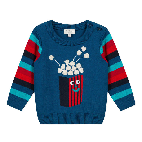 *NEW*  Blue sweater with popcorn visual