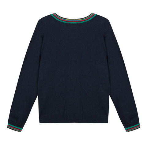 Navy blue cotton cashmere cardigan