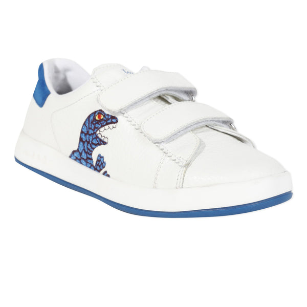 White leather sneakers with dinos