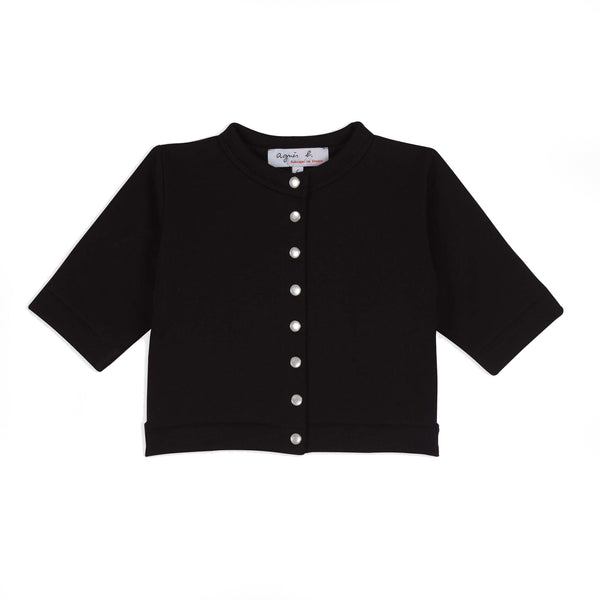 Black cotton fleece snap cardigan