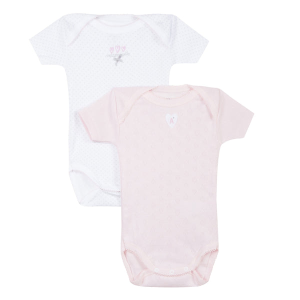 2-pack short sleeve pink bodysuits
