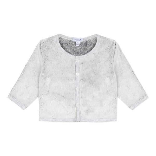 Grey unisex faux fur cardigan