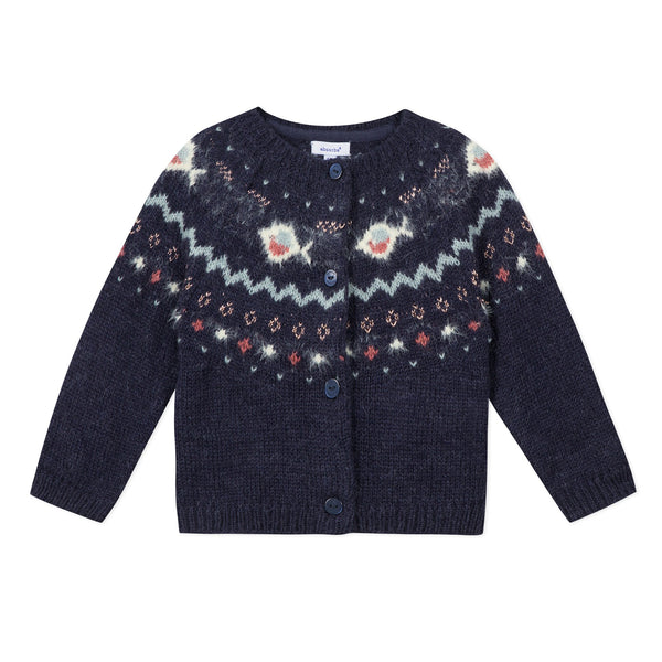 Navy jacquard knit cardigan