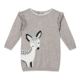 Knitted dress with a fawn design