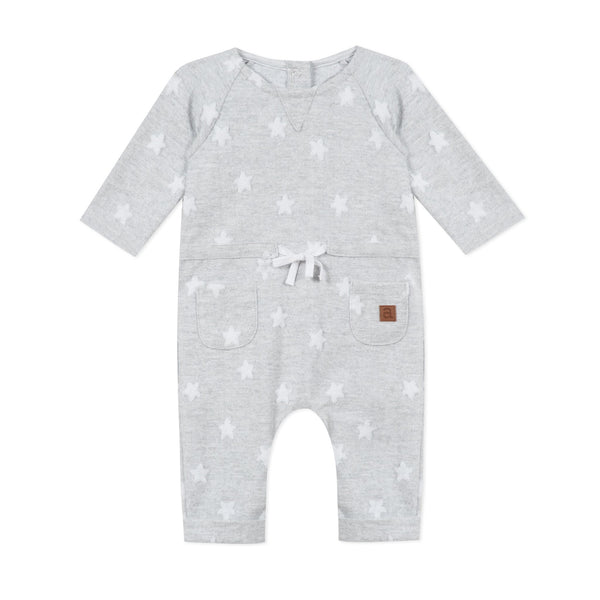 Marl grey jumpsuit with star print