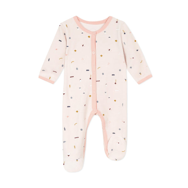 Pink allover printed velvet pajamas