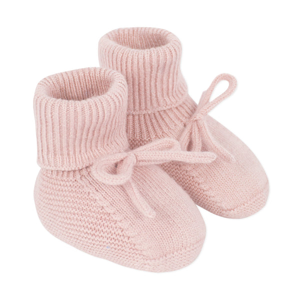 Unisex pink knitted baby booties