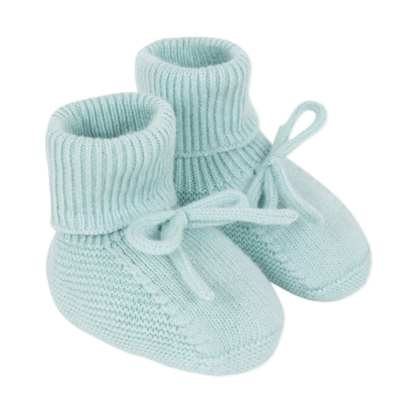 Unisex almond green knitted baby booties