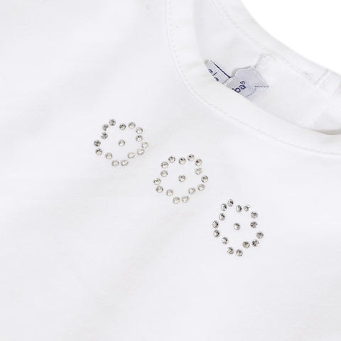White T-shirt with Swarovski® crystals