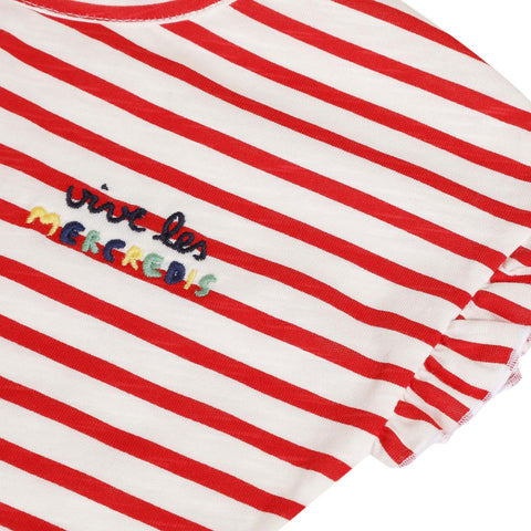 White and red striped T-shirt