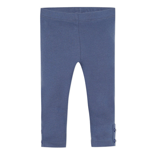 Blue fine-rib cotton leggings
