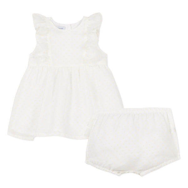 Plumetis white dress and bloomers