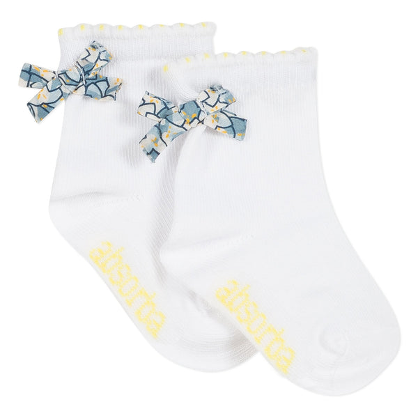 White socks with printed bow