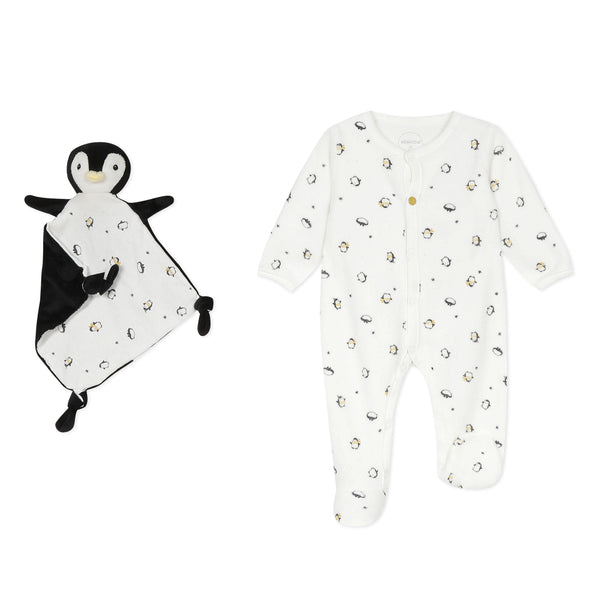 Unisex baby pajamas with plush toy