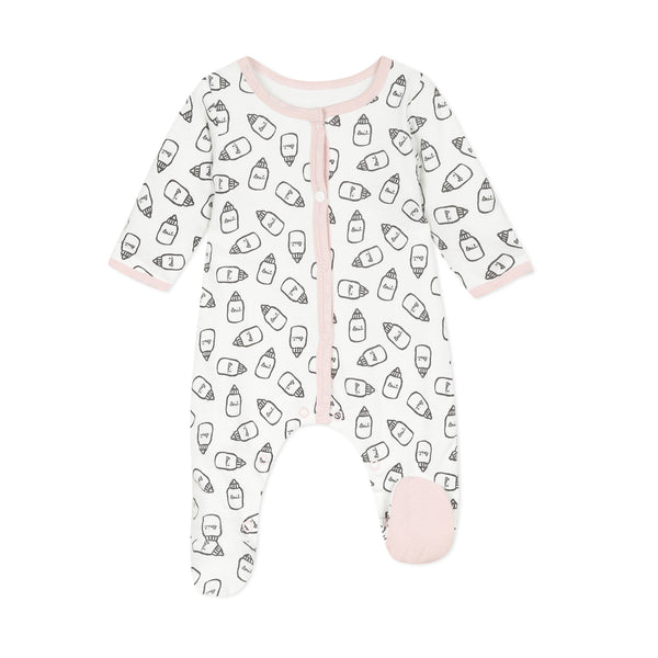 White pajamas with bottle milk print
