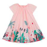 Cotton voile dress with leafy print