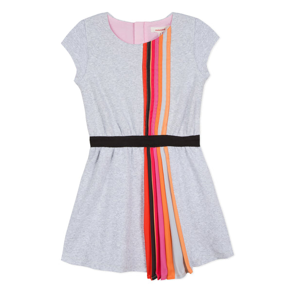 Knitted dress with rainbow pleat