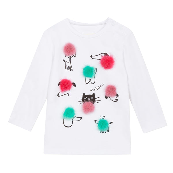 Cats & dogs printed T-shirt with pompoms