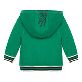 Green and striped reversible zip-up hoodie