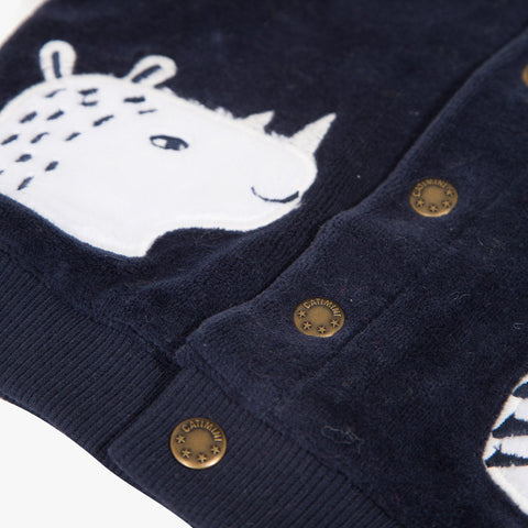 Velvet cardigan with embroidered animals