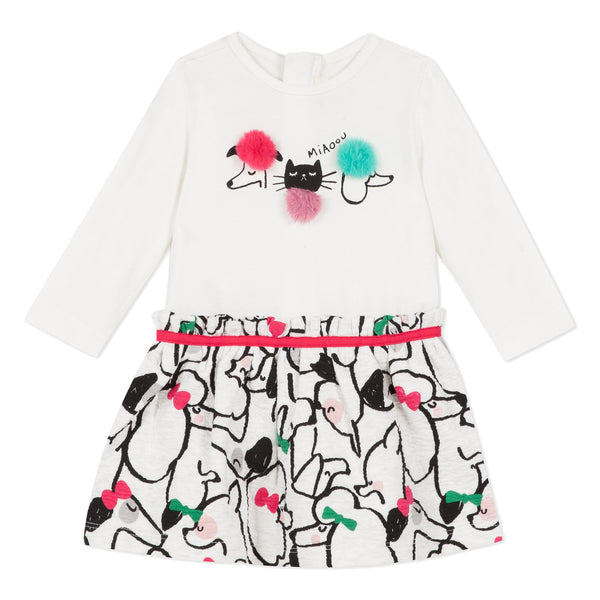 2 in 1 cats & dogs printed dress and skirt