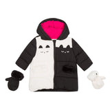*NEW* Black and white hooded puffer jacket