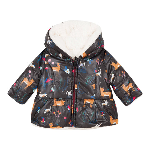 Reversible coated deer parka with faux fur