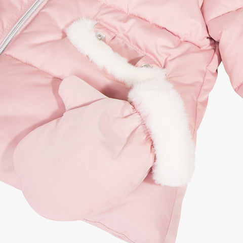 Pink puffer jacket with faux fur hood