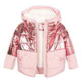 Coated pink bomber jacket
