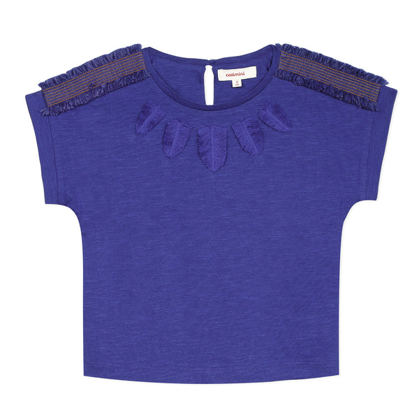 Blue fringe short sleeve T-shirt