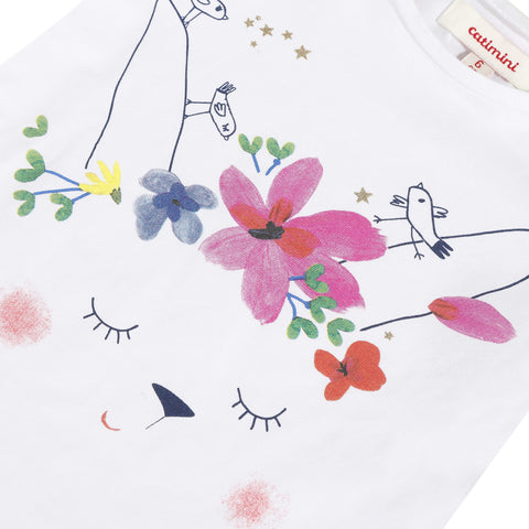 White flower printed T-shirt