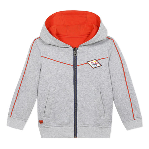 Reversible zipped hooded sweatshirt