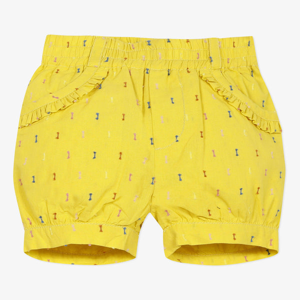 Yellow embroidered bubble shorts