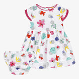 Flower print dress and bloomer set