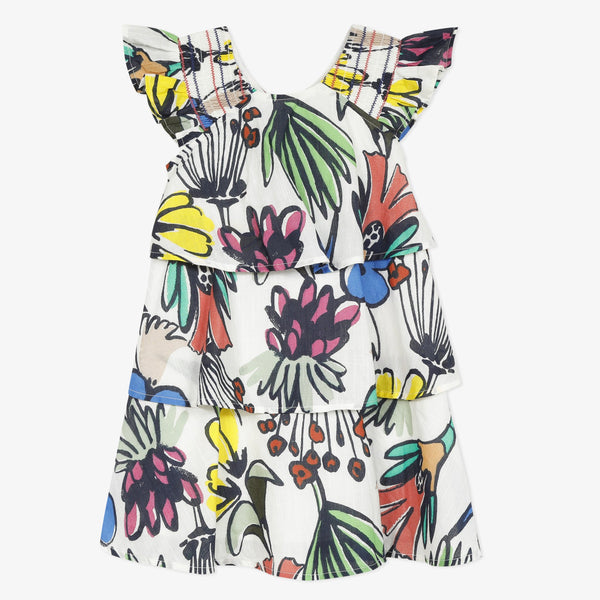 Floral ruffle percale dress