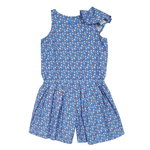 Blue micro dot romper