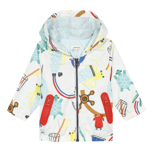 Coated printed parka