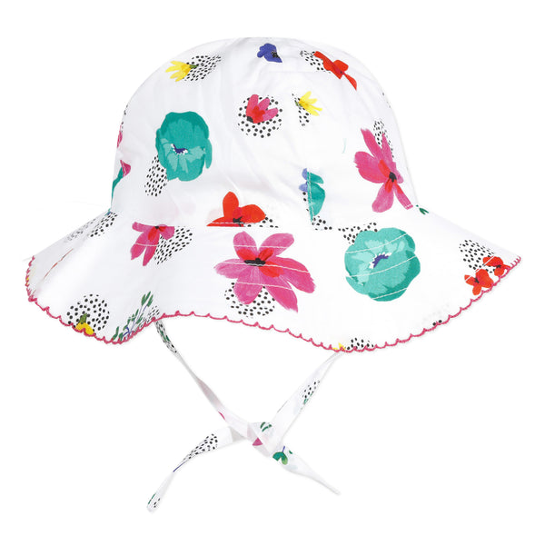 White flower printed hat