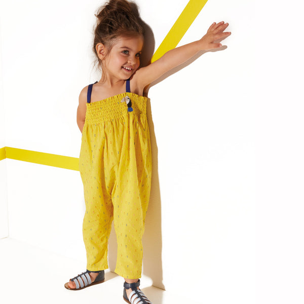 Yellow dotted Swiss jumpsuit