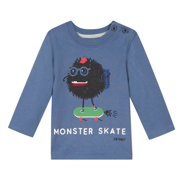Blue T-shirt with Monster Skate visual
